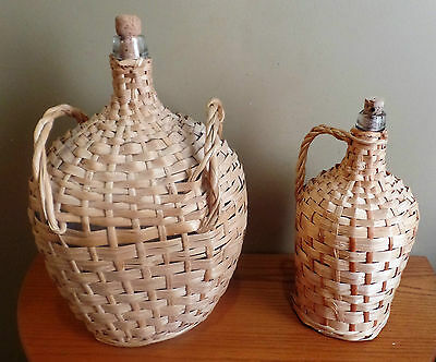TWO Vintage WICKER Covered Handled DEMIJOHNS Carboys Wine JUGS~Large-Med