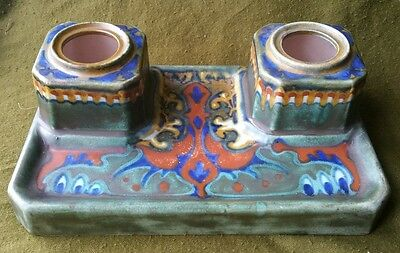 Gouda Pottery Desk Stand/Inkwell in the Suled Pattern Possibly by PZH