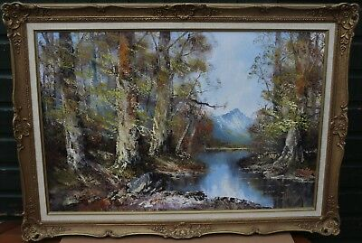 Super Very Large Gilt Framed Painting On Canvas Of River Landscape Signed