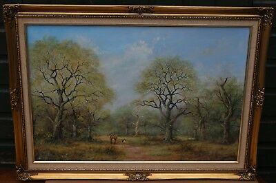 Very Large Gilt Framed Painting On Canvas Of People In Landscape By Alan Preece