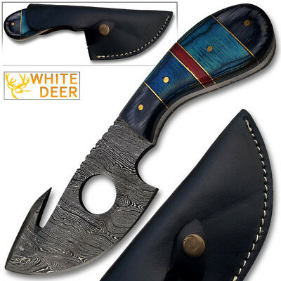 Damascus Gut Hook Skinner Hunting Knife