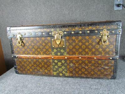 *petite* Antique Louis Vuitton Travel Trunk, Red Felt Interior