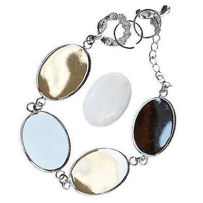 18x24mm Silver OVAL BRACELET Chain Blank Cabochon Glass Jewellery Setting CRAFT