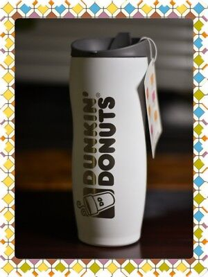 Dunkin Donuts Stainless 14oz Coffee Travel Mug Tumbler (White)