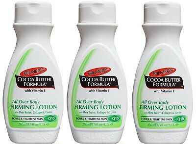 3 x PALMERS 250mL ALL OVER BODY FIRMING LOTION WITH SHEA BUTTER, COLLAGEN NEW