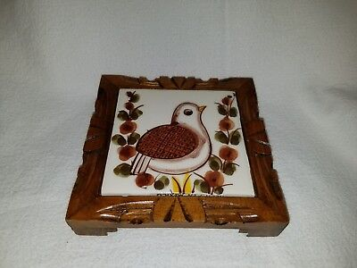 Hand Painted Mexican tile/wood trivet