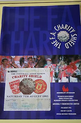 Arsenal v Man Utd 1993 Charity Shield Programme + Ticket Stub