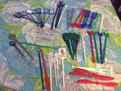 Vintage Lot Of 50+ Assorted Plastic Swizzle Sticks ,Cocktail Casinos Hotel TWA