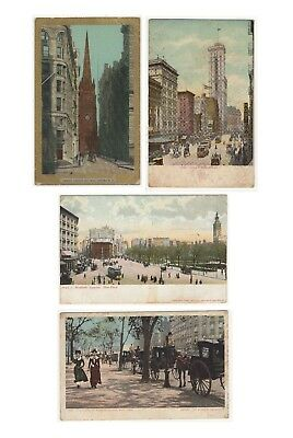 Lot of 4 Antique 1890's NYC Victorian New York City Original Unposted Postcards