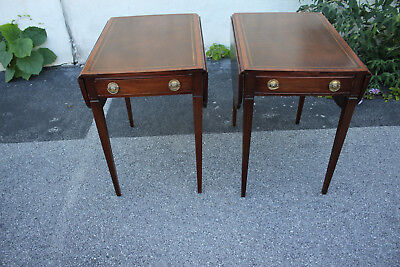 Pair of Sheraton Style Mahogany Leather Top Pembroke Tables with Drawer
