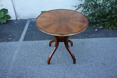 Inlaid Regency Style Rosewood Bookmatched Round Center, Accent Table