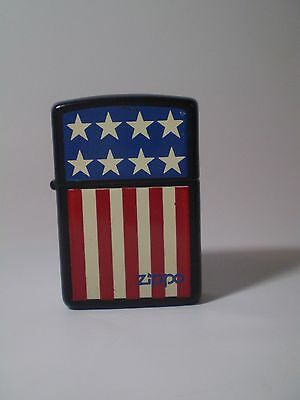Rare  Collectible Black Zippo Lighter Us Flag. Marked B 07 Inside .