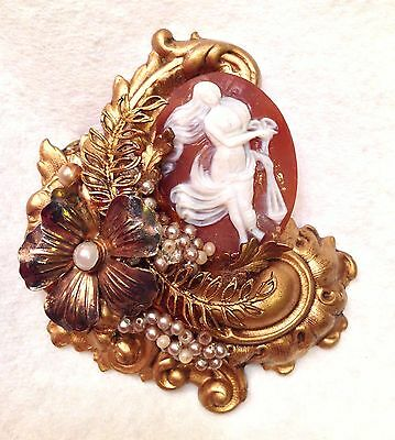 Estate Haskell? Genuine Shell Cameo Victorian Style Seed Pearl Brooch Pin