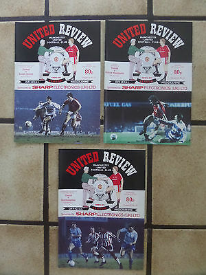 3 x Manchester United Home Football Programmes - Lge + FA Cup - 1990/91 - Lot 18