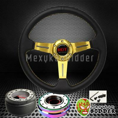 Gold Deep Dish Steering Wheel + Neo Chrome Quick Release For Honda Civic 88-91