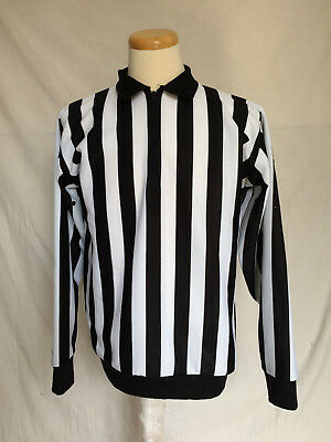Mens CCM Hockey Referee Large Jersey Black White Stripes 1/4 Zip Made In Canada