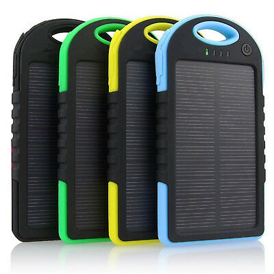 5000mAh Solar Power Bank Dual Two USB Portable Waterproof Battery Charger