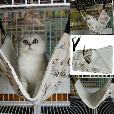 Rat Cat Hammock Hanging Warm Bed Blankets with Fleece for Ferret Pet Cage
