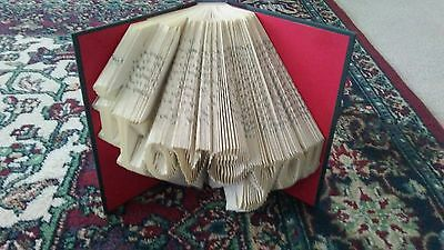 Custom hand folded recycled book art.Valentines Day Gift Etc.