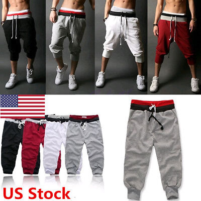 3cdcf035bb30 US 3 4 Knee Men Jogger Short Loose Casual Gym Harem Pants Cropped Trousers  Sport