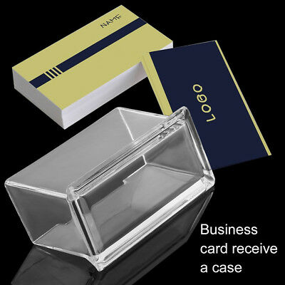 Office Clear Business Name Card Holder Box Case Organizer Display Stand Flowery
