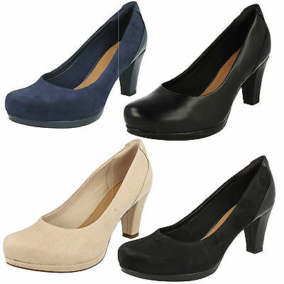 fec9ed0dc Ladies Clarks Suede Leather Slip On Wide Formal Heeled Court Shoes Chorus  Chic