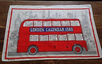 Vtg linen tea towel Blackstaff 1980 calendar Lindon Transport red doubledecker