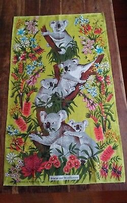 Vintage large Australian linen tea towel Koalas Wilflowers designed by Neil
