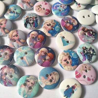 50/100pcs 15mm Wood Buttons Mix Disney Frozen Sisters Sewing Accessories Craft