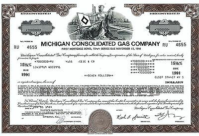 Michigan Consolidated Gas Company, 1984, 15 5/8% Bond due 1991 (7 Millionen $) !
