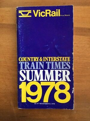 Victorian Railways Summer 1978 Country Time Table