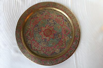 1950s Hand Engraved Copper Plate Multicolour Made in India