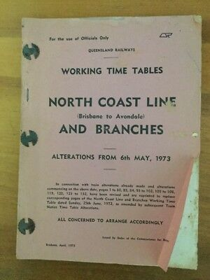 Queensland Railways 1973 North Coast Alterations To Time Table