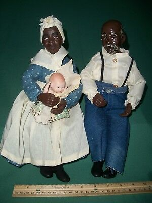 Rare Quincy Scarborough Porcelain Dolls Black Americana Old Couple w/ White Baby