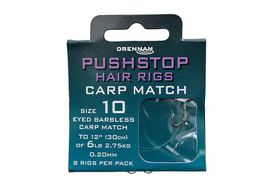 Drennan Pushstop Hair Rigs Carp Match Barbless