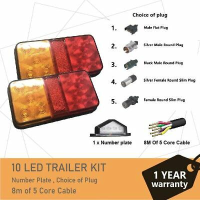 Pair of 10 LED TRAILER LIGHTS KIT - 1 x Trailer Plug, 1 x 8M 5 CORE CABLE, 12V