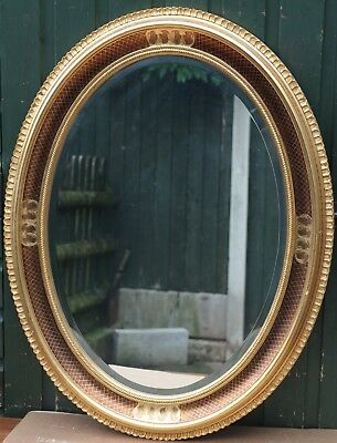 Quality Looking Very Large Oval Gilt Framed Bevel Edged Wall Mirror