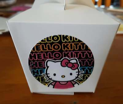 Set Of 12  Personalised Hello Kitty White Loot/gift/cake Boxes