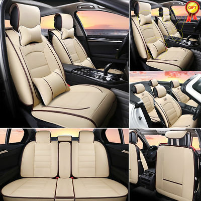 AU Car PU Leather Seat Covers Beige 5-Seat SUV Front+Rear w/ Neck Lumbar Pillows