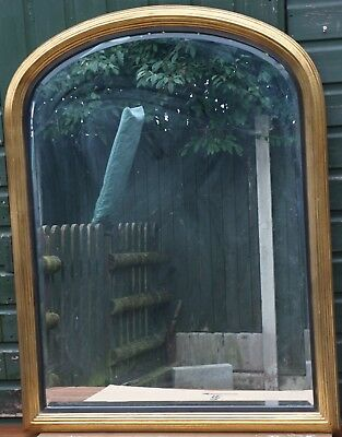 Very Large Quality Looking Gilt Framed Arched Topped Bevel Edged Wall Mirror
