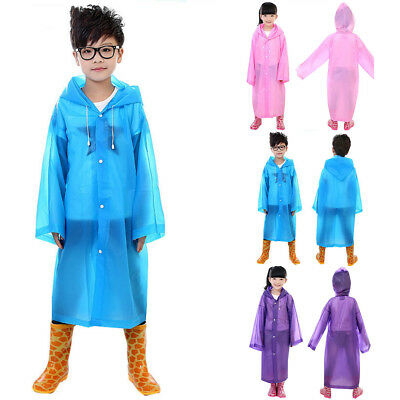 Kids Boy Girl Hooded Jacket Rainsuit Rain Poncho Raincoat Cover Long Rainwear AU