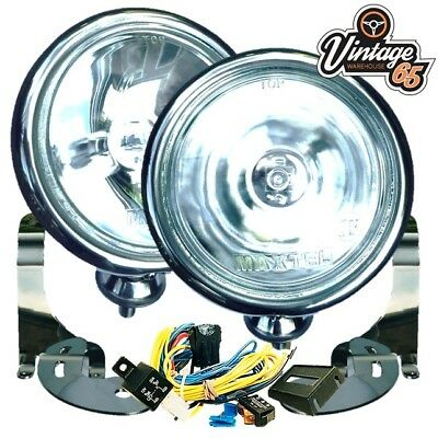 2 CHROME Spot Light Driving Lamps Kit BMW Mini Cooper/S inc Brackets & Wiring