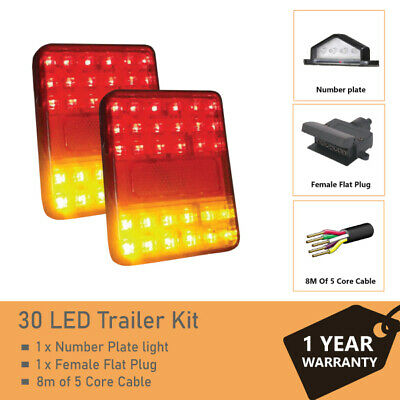 Pair of 30 LED TRAILER LIGHTS KIT - 1x NUMBER PLATE LIGHT, 8M x 5 CORE CABLE 12V