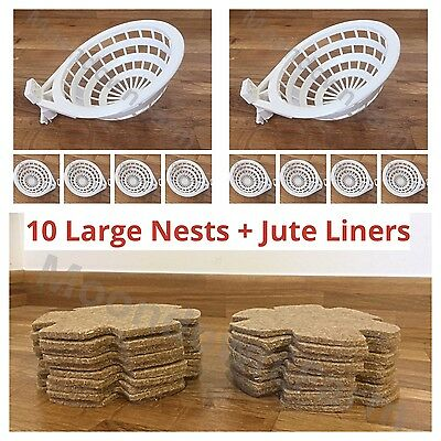 10 x ROBUST CANARY NEST PAN & JUTE LINERS 12.5cm FOR CANARIES & SMALL BIRDS etc