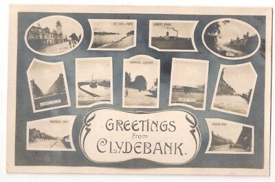 Greetings From Clydebank Multiview Postcard 1917 Rp