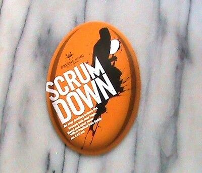 GREENE KING SCRUM DOWN REAL ALE BEER PUMP CLIP SIGN Rugby Theme