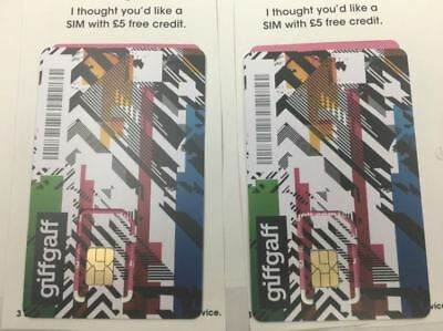 2 X UK SIM Card Giffgaff - Nano / Micro / Standard Free delivery + 5£ Free