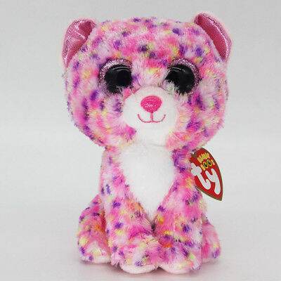 "6"" Ty Beanie Boos Pink Leopard Dotty Stuffed Plush Toys Animals Child Gift"