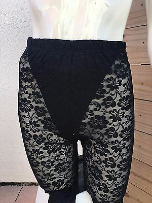 Vtg 80's HIGH Waisted Work out Lace Leggings Dance France Black Sz Sm Thong