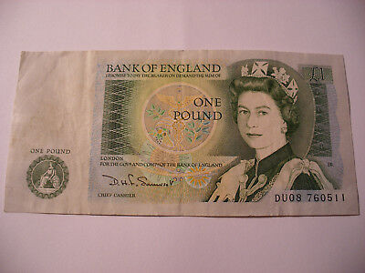 Old One Pound Note Du08 760511 Bank Of England Circulated